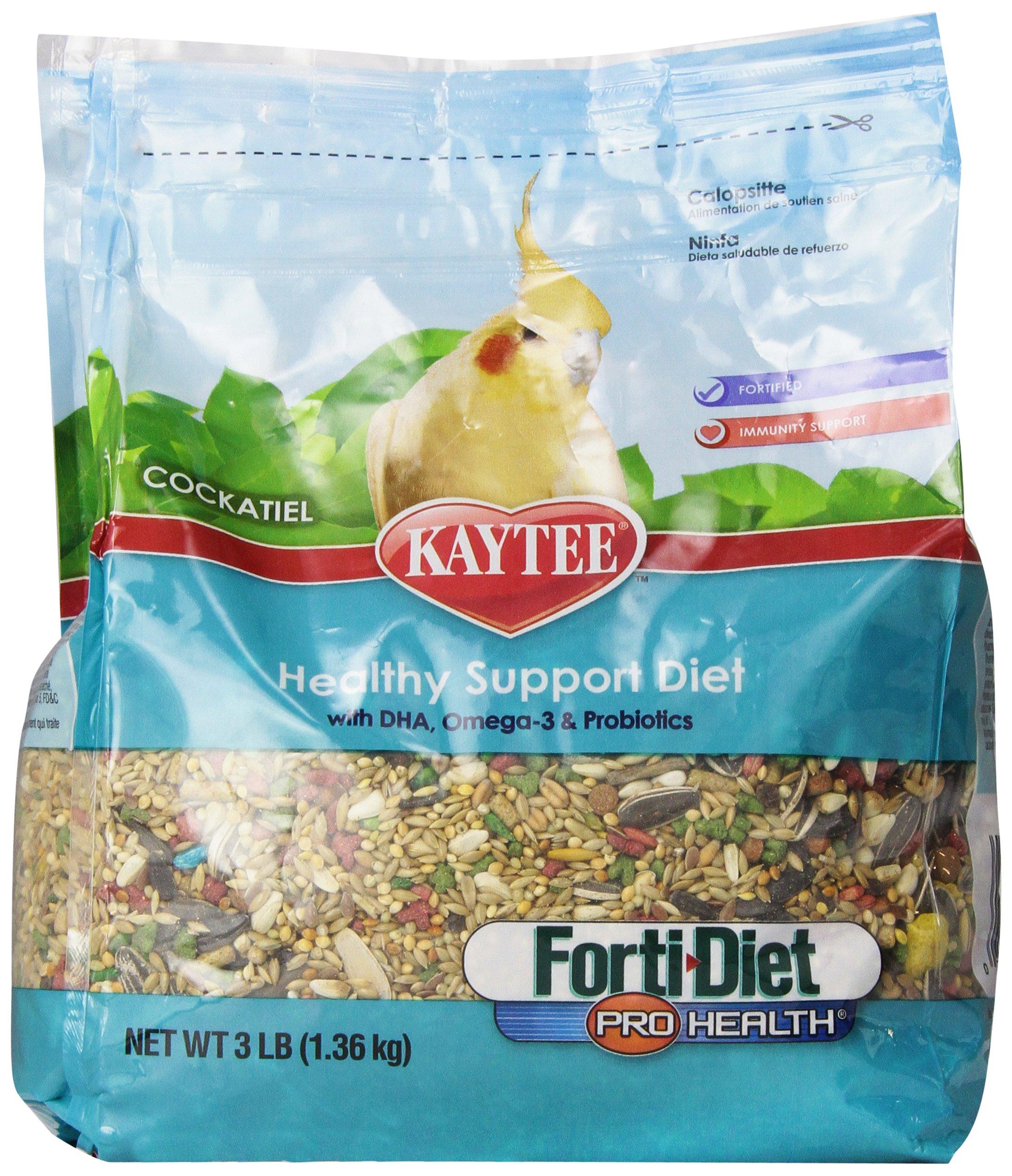 Kaytee Forti Diet Pro Health Bird Food for Cockatiels, 3-Pound