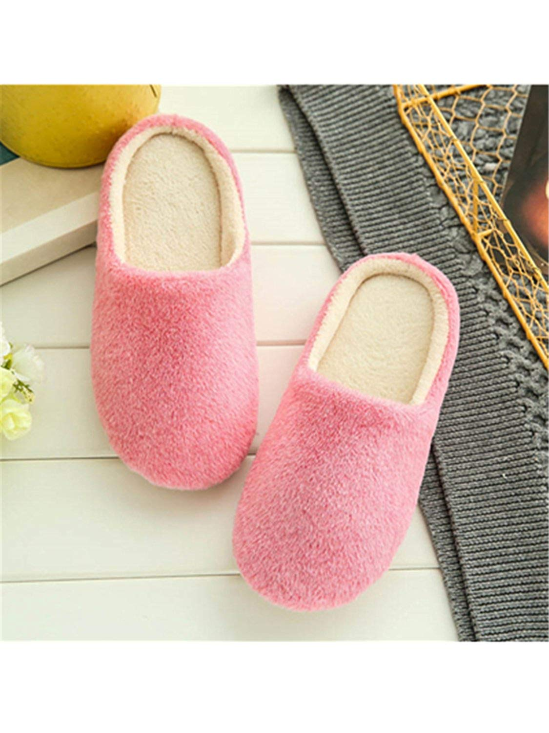 Jwhui Indoor House Slipper Soft Plush Cotton Cute Slippers Shoes Non-Slip Floor Home Furry Slippers Women Shoes for Bedroom