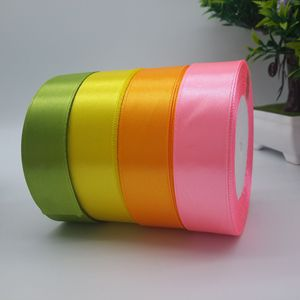 25mm 1inch Solid Color Satin Ribbon For Ssrapbooking /Featival Decoration