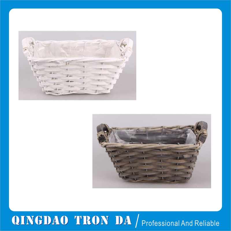 Grey chipwood garden basket for outdoor use