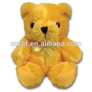 Popular promotion gift small size 15cm shine yellow teddy bear