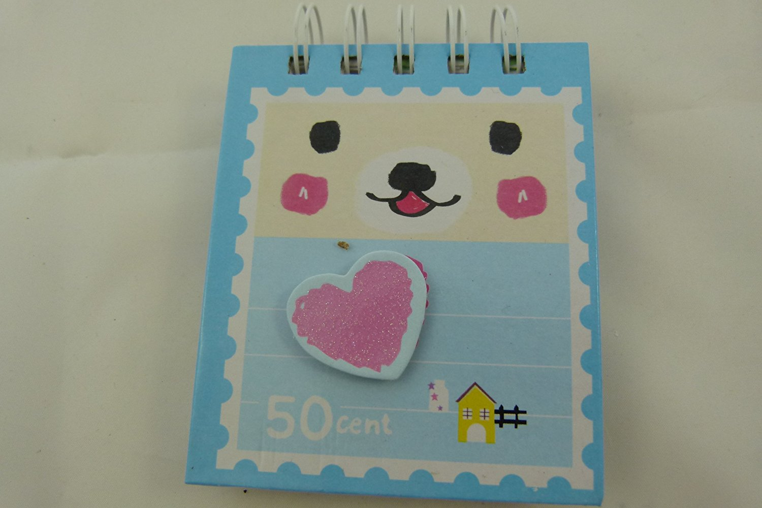 Ring Bound Hardback Animal Face Notebook (with die cut embellishments cover) - Heart Embellishment