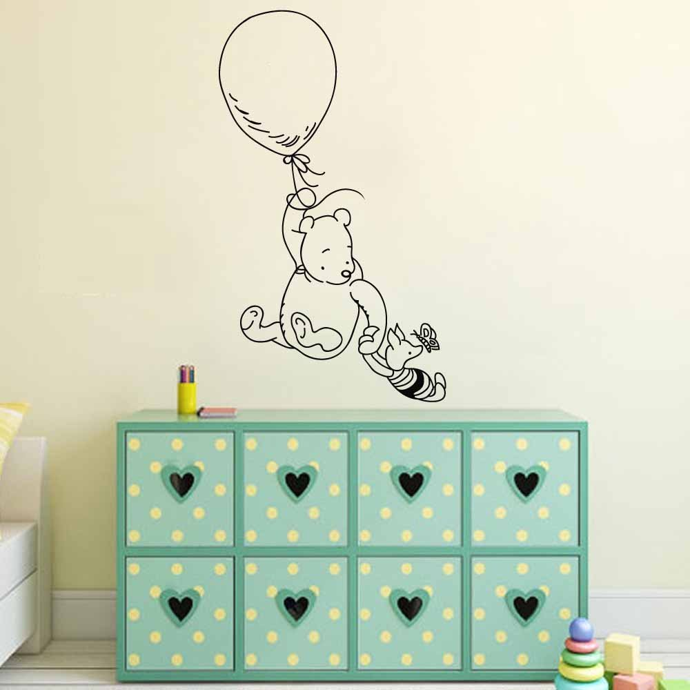 "BATTOO Winnie The Pooh Wall Decal Sticker- Pooh Bear Piglet Nursery Wall Decal Baby Kids Room Vinyl Wall Art Decor(brown, 27""h x46""w)"