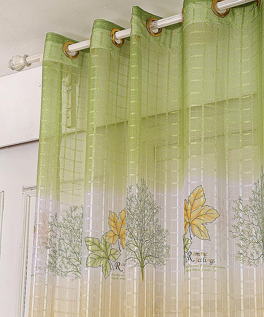 High Grade Maple Leaf Printed Tulle Window Screens Sheer