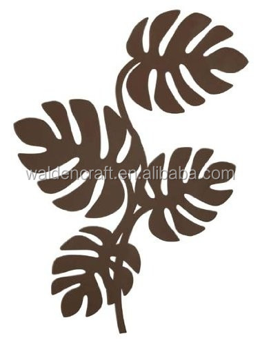 Brown Metal Leaves Wall Hanger for Accessories Modern Home Decor