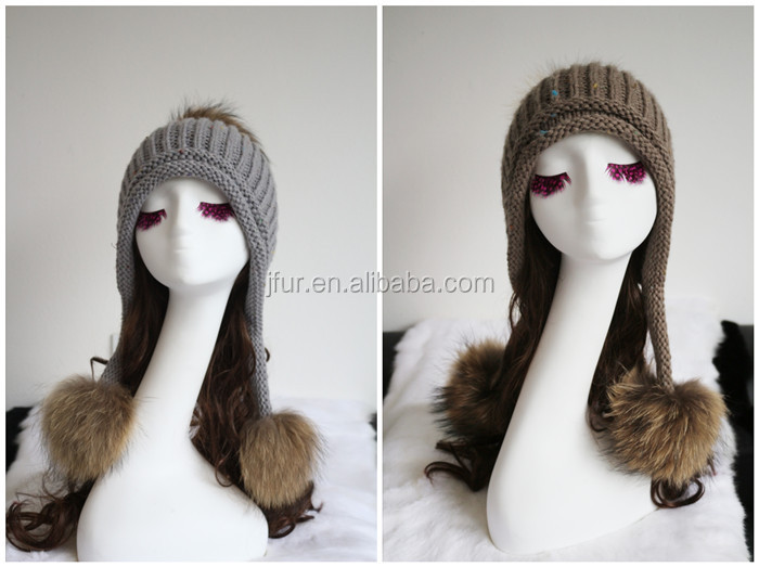 a95aa562 Funny Knitted Adult Animal Hats With Earflaps Detachable Raccoon Fur Pompoms