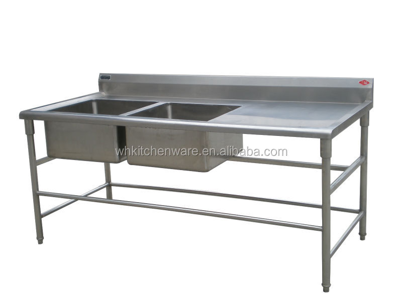 assemble two tier floding sink bench stainless steel kitchen work