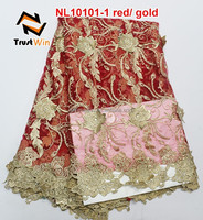 new products 100% Polyester Material fashion african fabrics french lace with stone for wedding NL10101 red gold