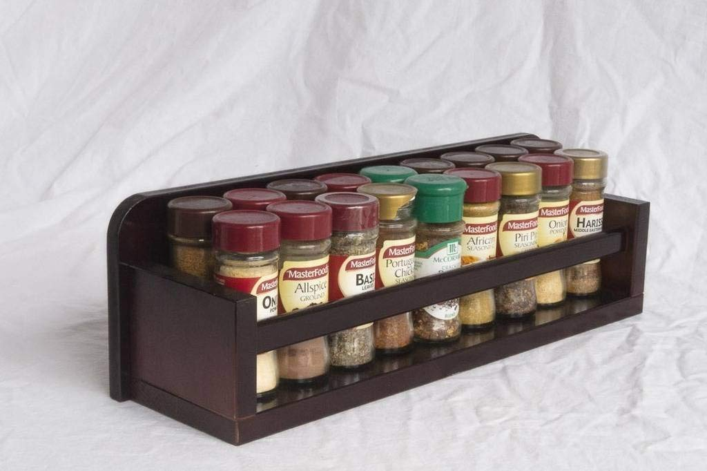 Spice Rack - Wooden - Open Top - 1 Tier - Wooden Bar - 18 Herb and Spice Jars - Black