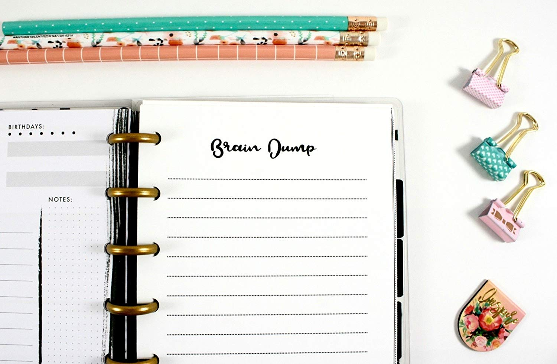 Mini Happy Planner Brain Dump Inserts, Mini Happy Planner Notes Refills, Pre-punched Happy Planner Inserts, Mini Happy Planner Notes Inserts