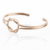 Jewelry making supplies tie the knot wire wrapped women bangle brass copper twisted open cuff bangle bracelet