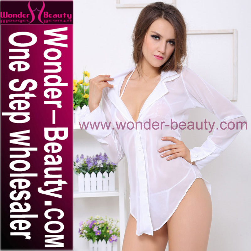 Women Sexy White Long Sleeve Transparent Babydoll Lingerie