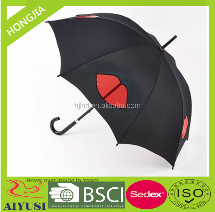popular 23''8ribs auto open pu cover hook handle promotional umbrella with red lips printing made in xiamen