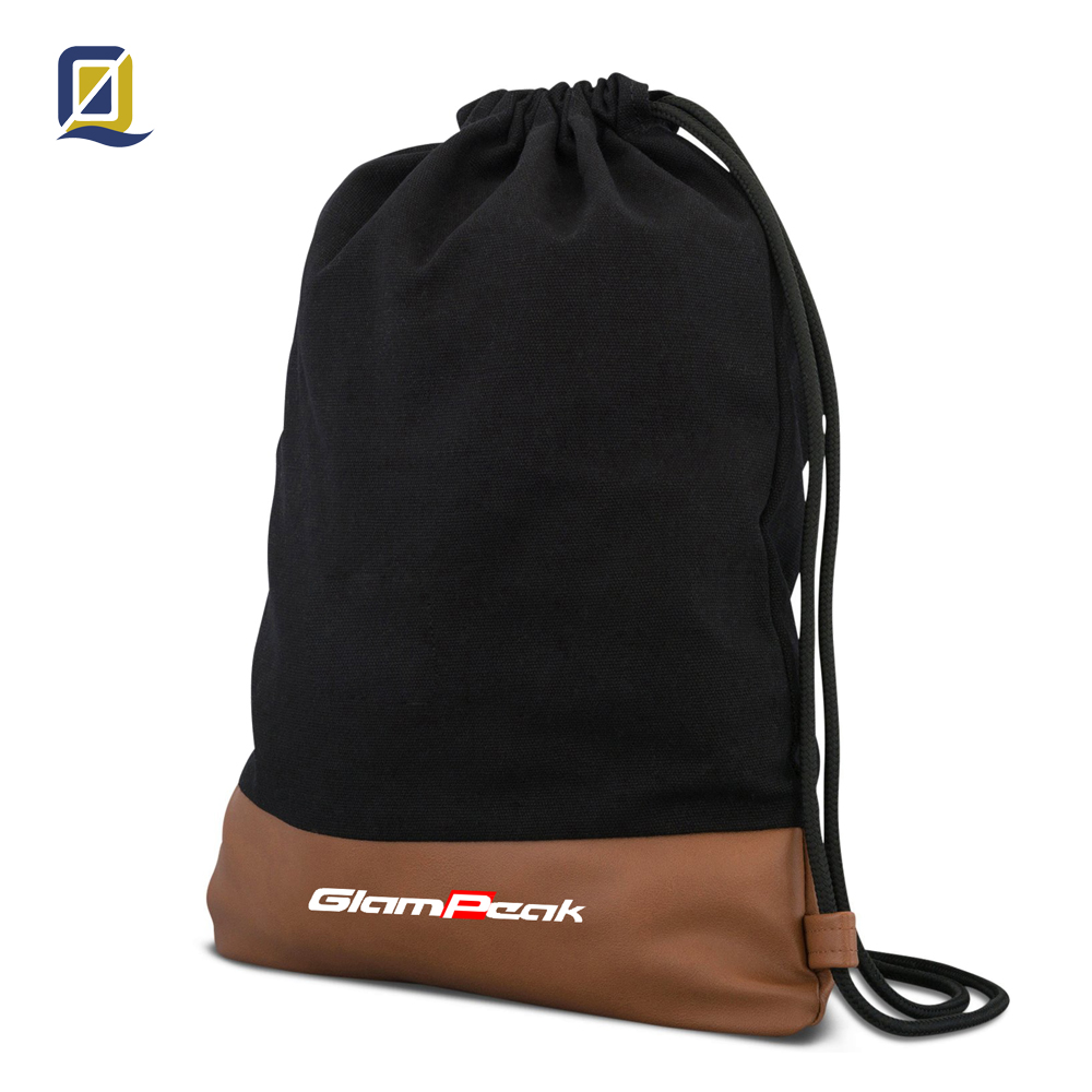 Cotton Canvas Drawstring Bag, High Quality Gym Sack, Backpack with Pocket, Pu leather