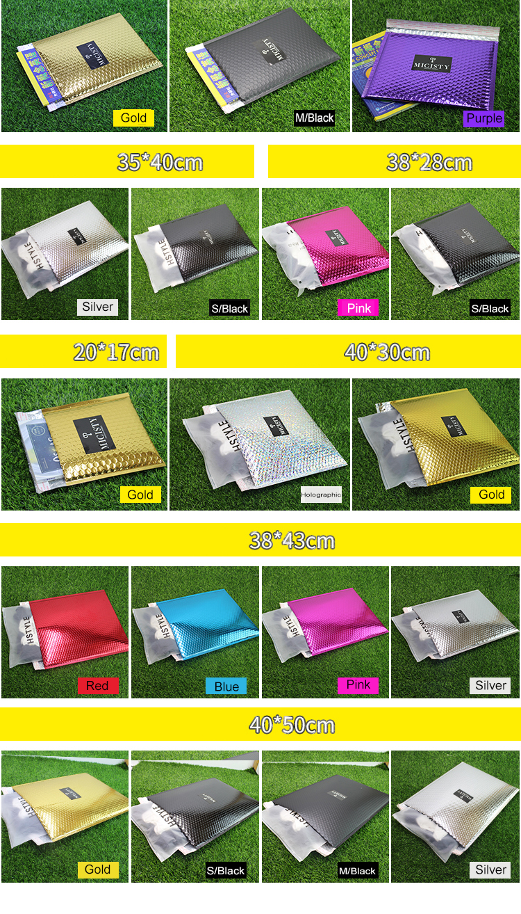 Wholesale Envelope Customized Printed Aluminum Foil Metallic Bubble Mailers With Logo