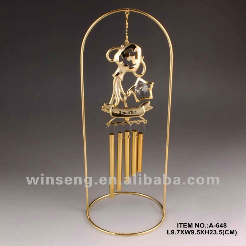 24K Gold Plated Metal Wind Chime for home decoration