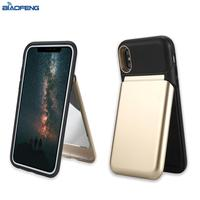 Hybrid Kickstand Business Card Holder Wallet Cell Phone Case With Mirror for Apple for iPhone X
