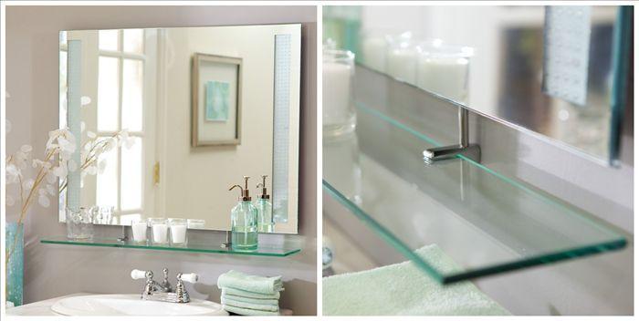 Sin marco antiguo una forma de cristal espejo con estante - Espejos sin marco ikea ...