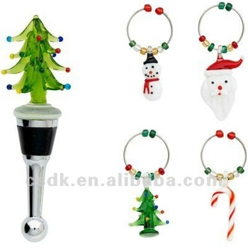 art glass stainless bottle stopper 4 wine charms markers christmas tree - Christmas Wine Charms
