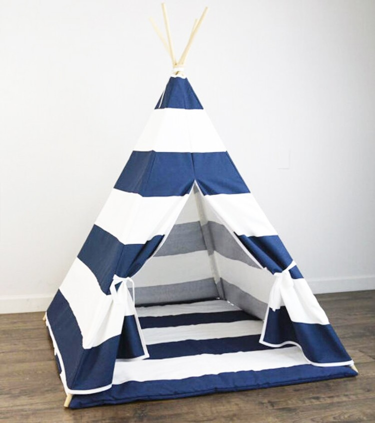 Large Canvas Kids Play Tent Boys Girls Pentagon Teepee