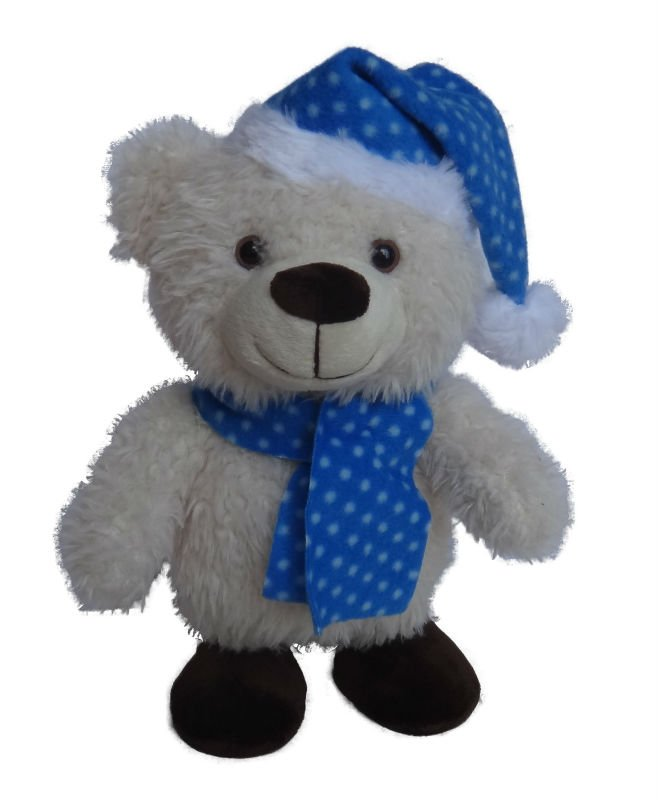New christmas gift white bear with a scarf 2018 soft plush toys for children