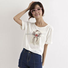 2014 wholesale plain white crop top with print/short sleeve crop top