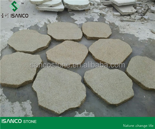 G388 Giallo Cecilia Yellow Granite Paving Stone Irregular Round Flagstone