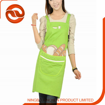 Adult Size Printed Cooking Apron Embroidery Design Cotton Kitchen