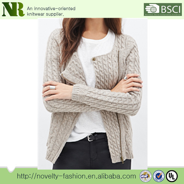 Sweater For Women Hand Knitted Full Zip Cardigan Short Sleeves ...