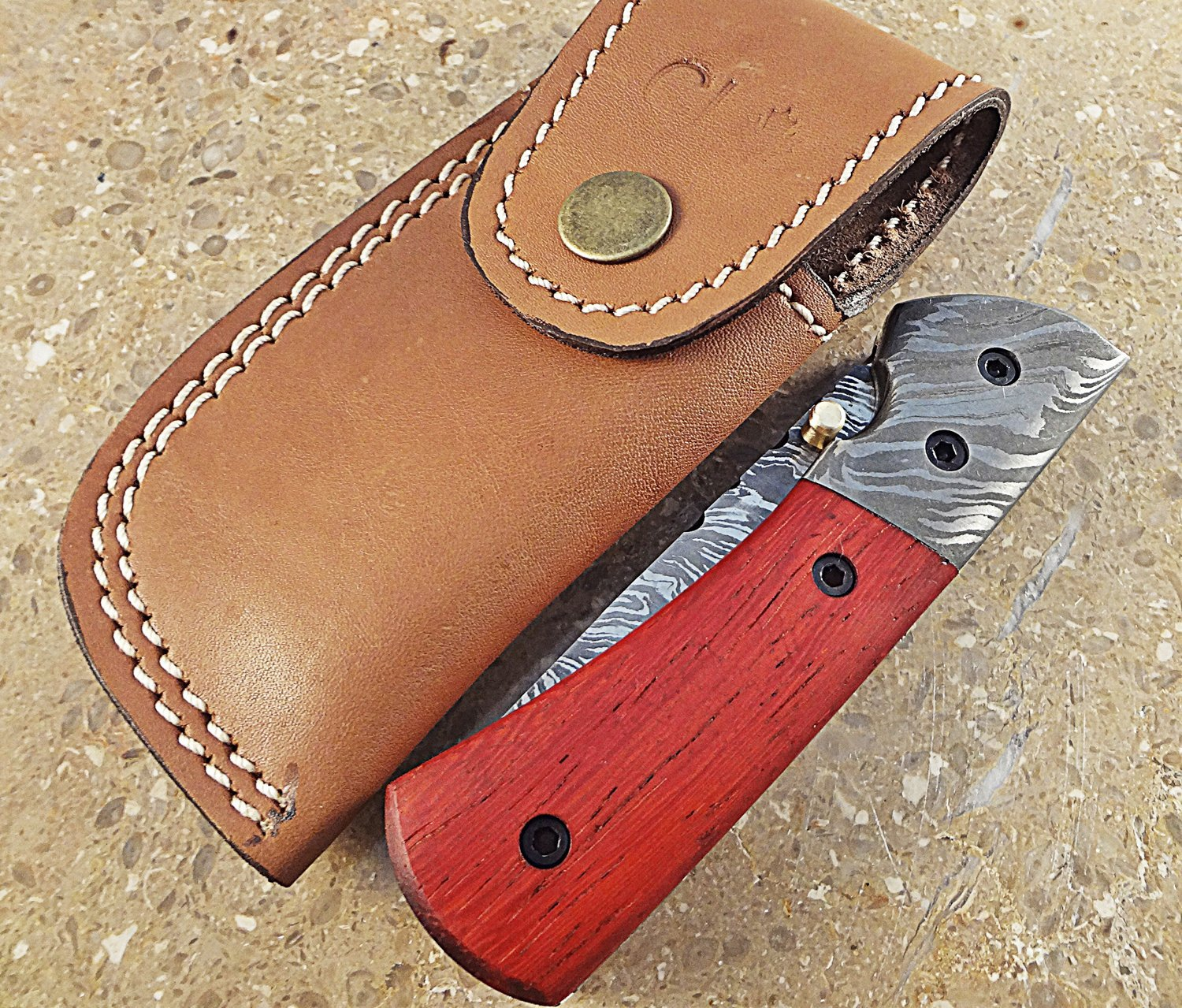 Christmas Gift Offer by ColdLand Knives (LIMITED EDITION) | One-Of-A-Kind Custom Handmade Damascus Steel Folding Pocket Knife Exotic Blood Wood Handle WF14