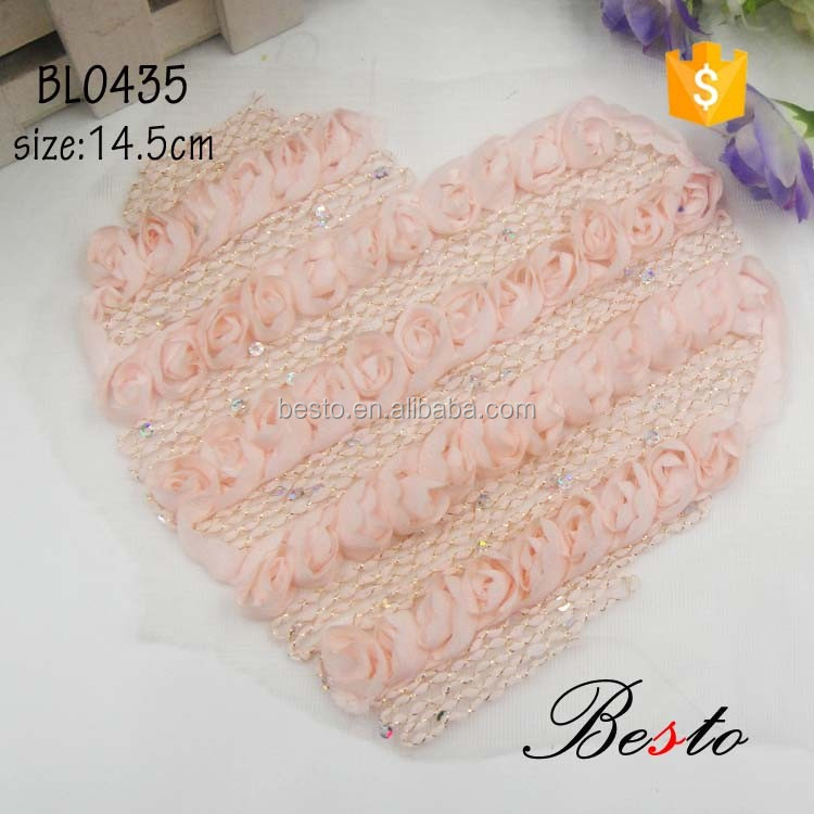 Antique beautiful heart shape chiffon rose flower applique for baby skirts