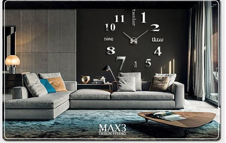 Di lusso di grandi dimensioni diy 3d orologio da parete for Orologi da parete adesivi