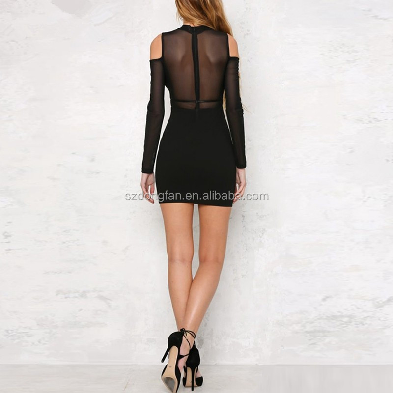 7aa9a58adc New Black Elegant Sexy Transparent Party Dress Mature Sexy Dress See-through  Long Sleeves Bodycon