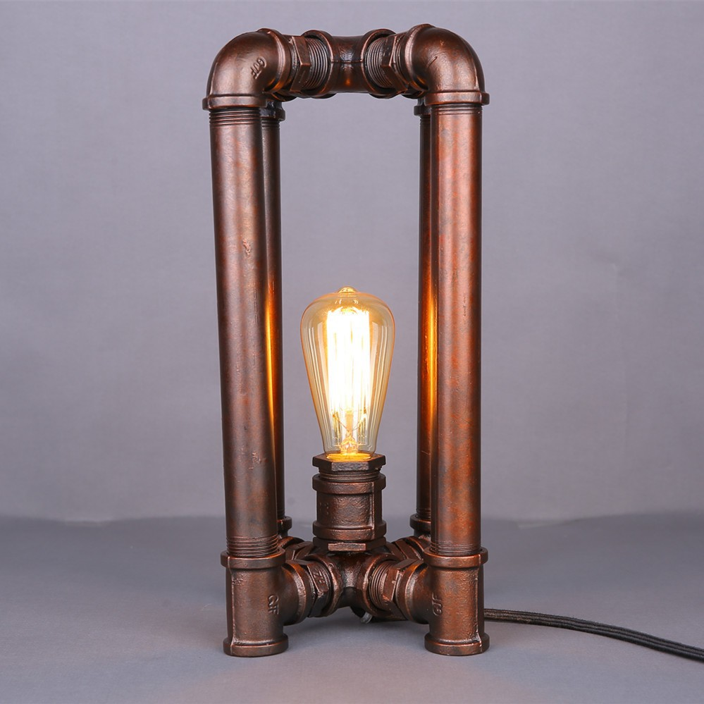 Creative Vintage Style Loft Copper Cube Pipe Iron Frame Table Lamp ...