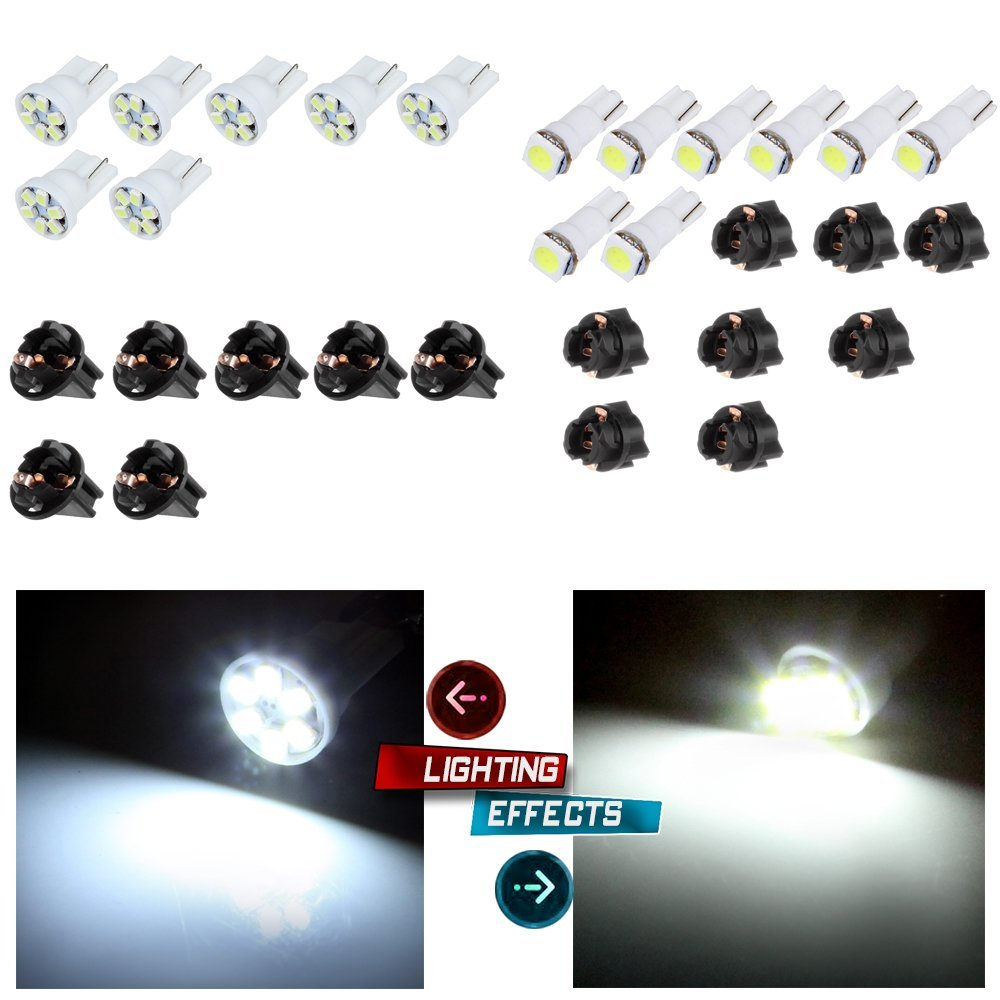 "CCIYU 8x T5 5050 1SMD Wedge Xenon White LED Light Bulbs +7x T10 W5W Wedge 168 194 LED Bulb +7x T10 1/2"" 8x T5 168/194 Twist Lock Sockets"