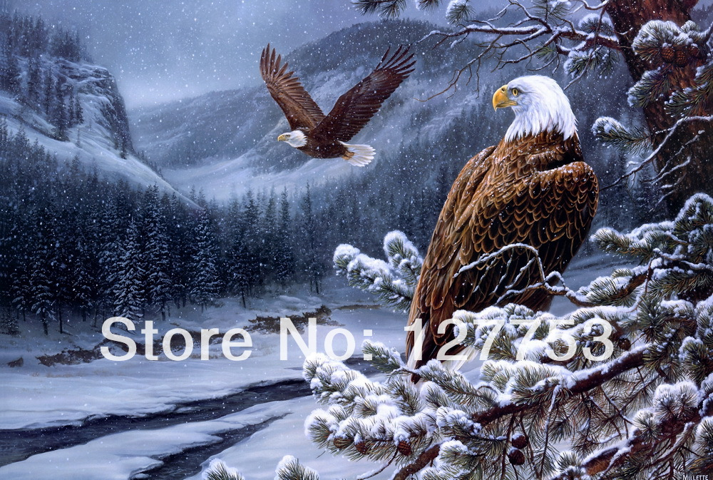 Modern home decoration Oil Painting Art Print On Canvas  wall decor Scenic snow fell, the mascot of pine trees