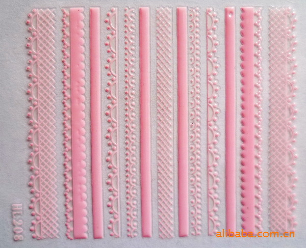 pink lace 3D Water Transfer Nails Art Sticker decals lady women manicure tools Nail Wraps Decals
