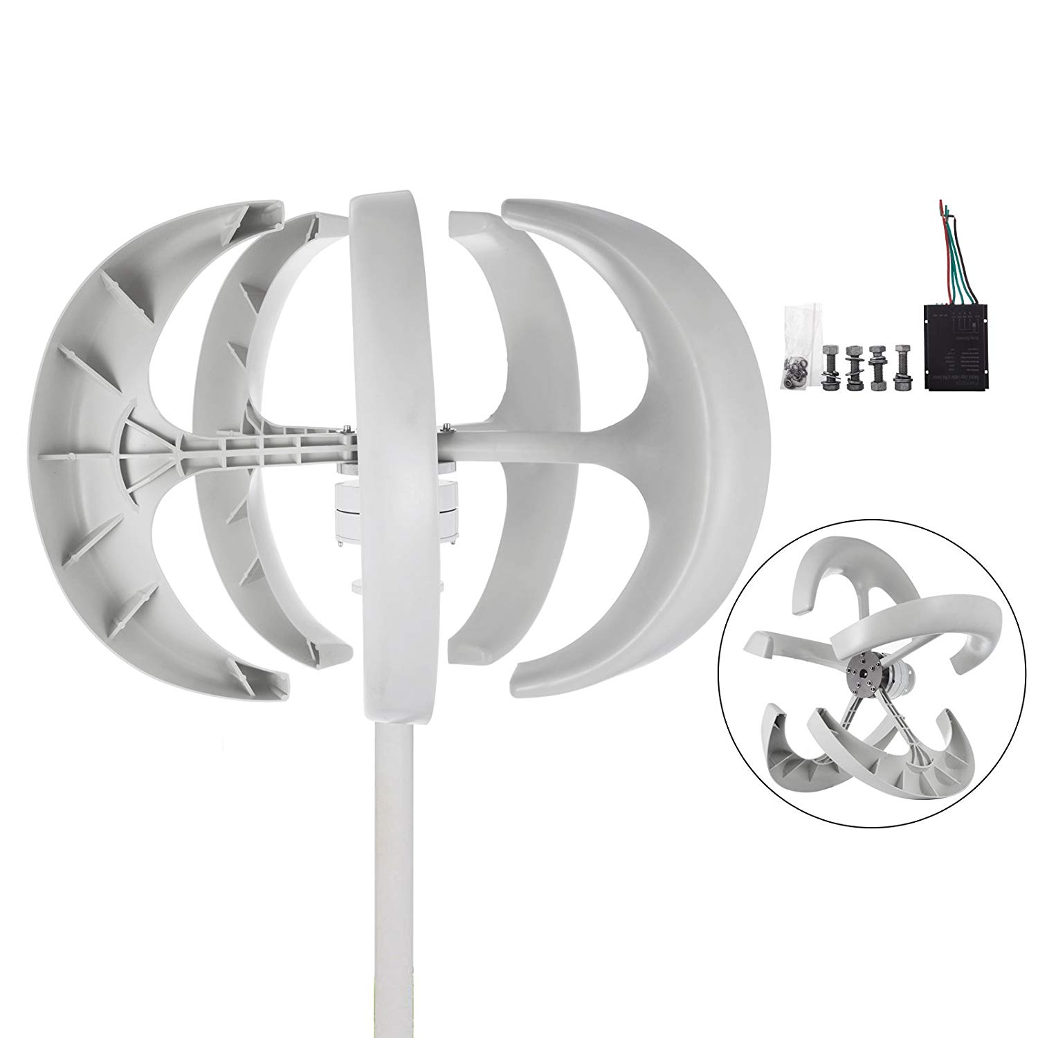 Happybuy Wind Turbine 400W DC 24V Wind Turbine Generator Kit 5 Blades Vertical Wind Power Turbine Generato White Lantern Style With Charge Controller for Power Supplementation (400W 24V)
