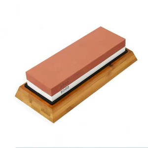 Amazon Hot sell Premium Whetstone Knife Sharpener 400/1000 Grit Two Sided Wet Sharpening Stone with Bamboo Base
