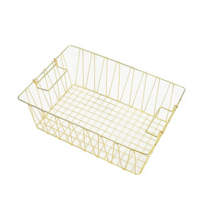 Home Gold Decorative Clothes Storage Square Mesh Grid Metal Wire Basket