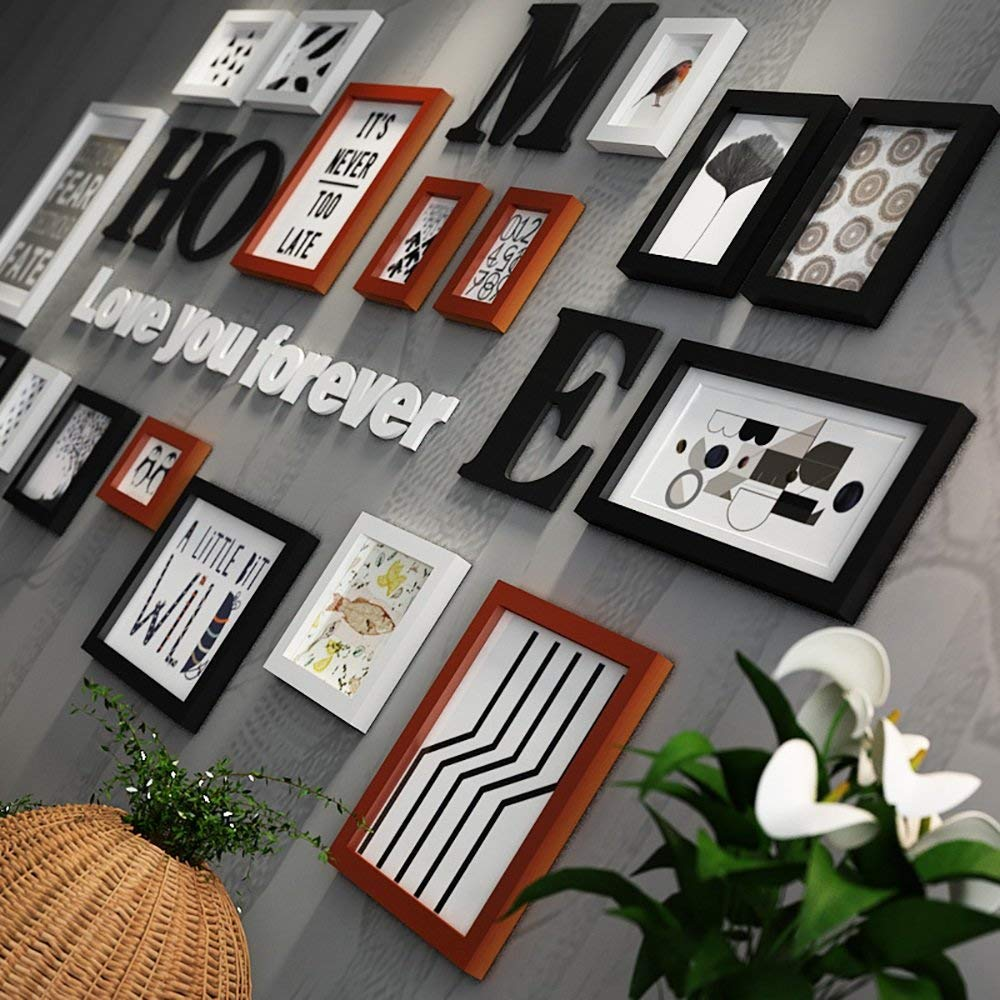 Photo Wall / Photo Frame Wall / Frame Combination Of Solid Wood Photo Frame Creative Decorative Painting 5 Inch 7 Inch 10 Inch 14 Inch ( Color : Hu original white )