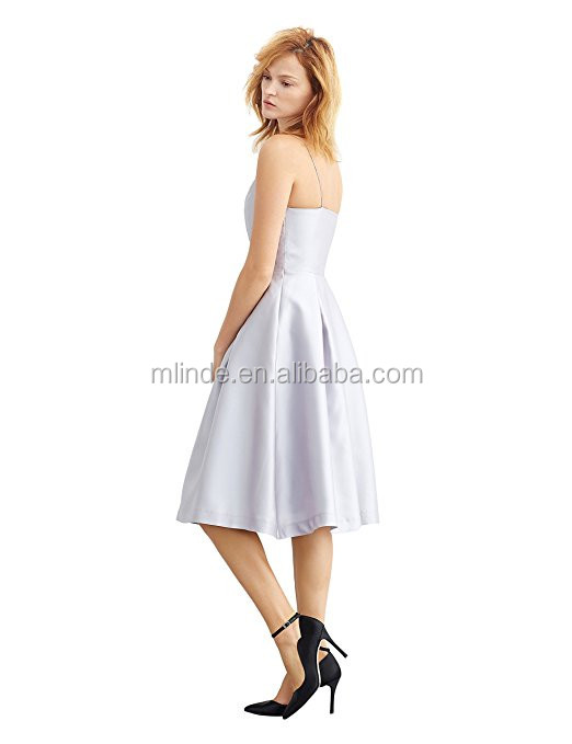 fcf32a912ee8 100% Polyester Simple Retro Women's 1950s Spaghetti Strap V Neck Formal  Silver Bridesmaid Swing Dress