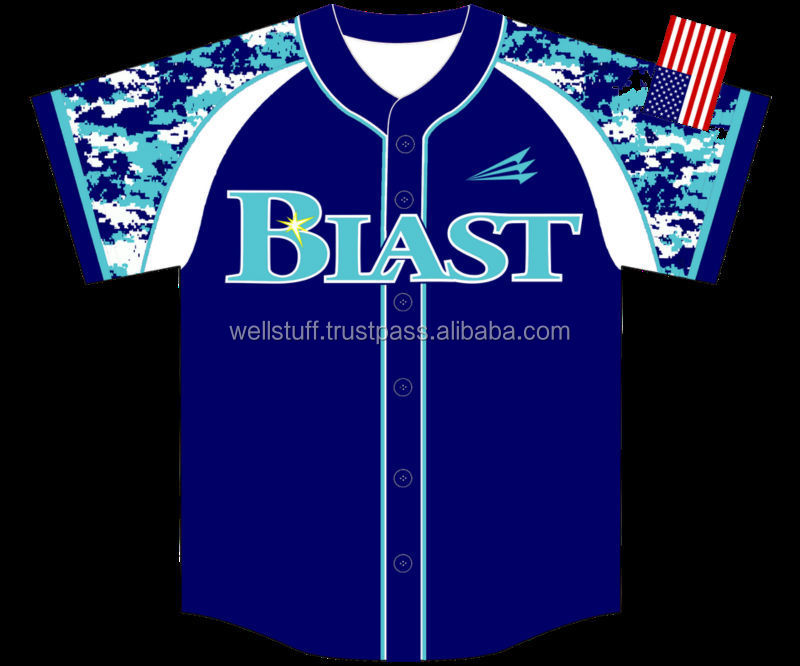 Team baseball jersey with custom printed team name and number