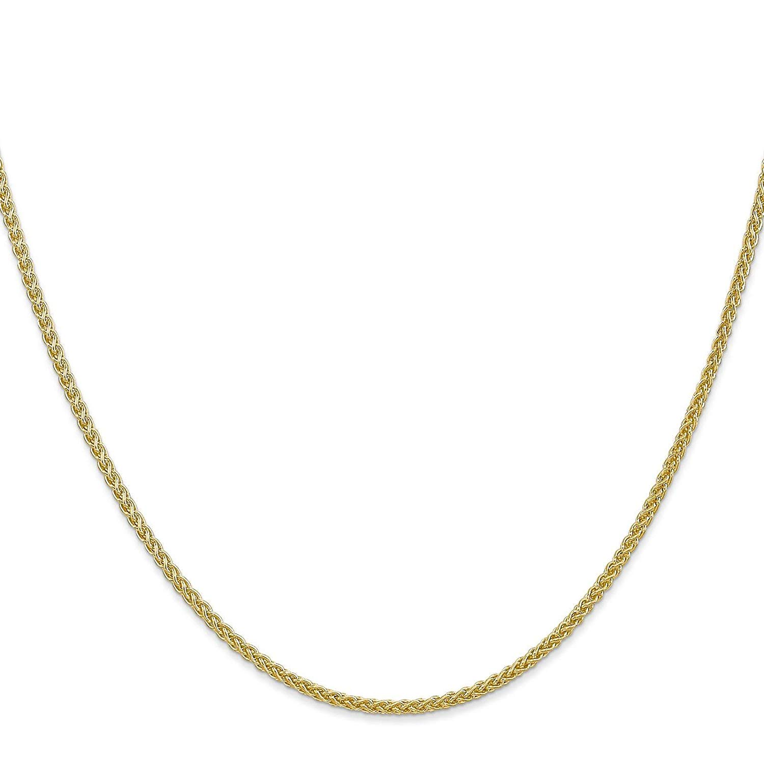 "14k Yellow Gold 2.00mm Semi-Solid Polished Wheat Chain Necklace Anklet 10"" - 24"""