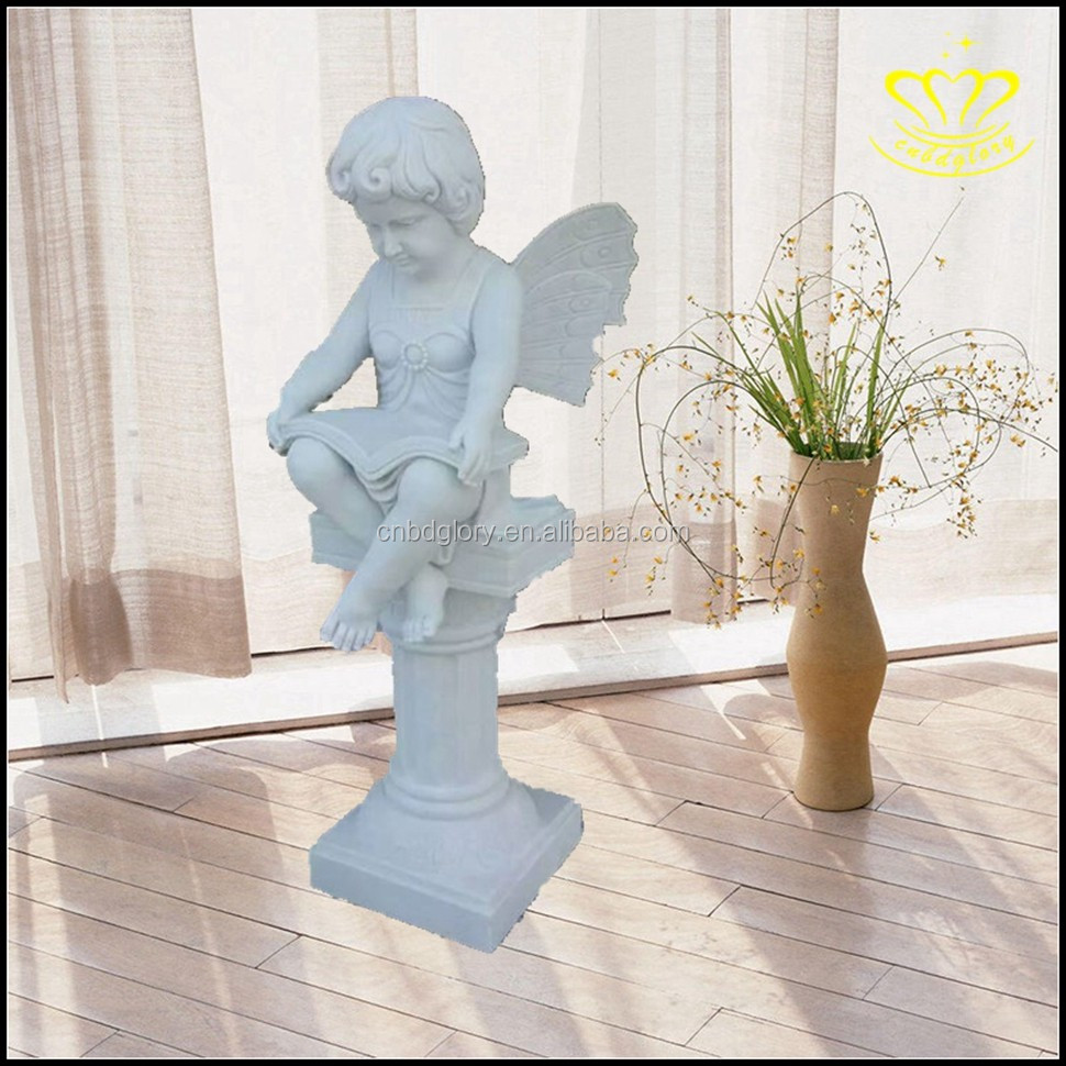 Sleep In Lotus Leaf Up Baby Cherub Angel Statue White Marble Sculpture Figurine