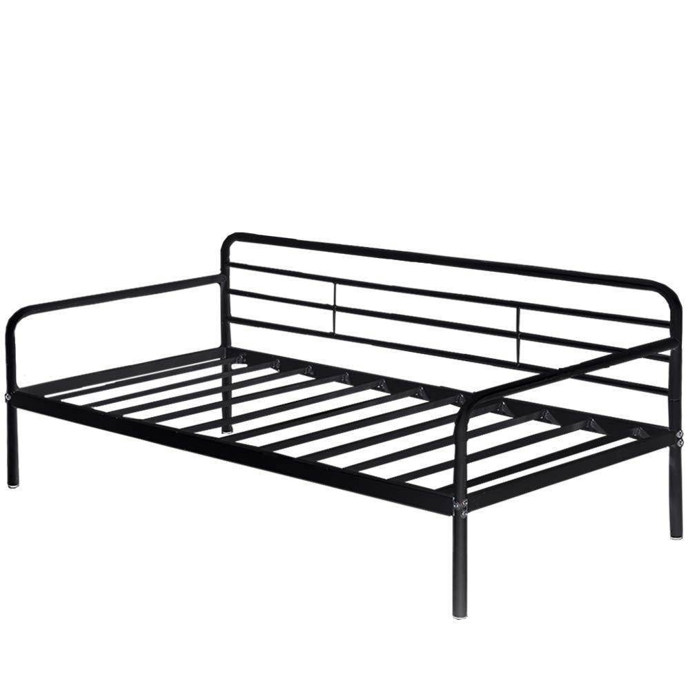 Daybed Frame Twin Metal Daybed Platform Bed Heavy Duty Steel Slats Box Spring and Foam Mattress Set Living Guest Room and Children Bed Sofa