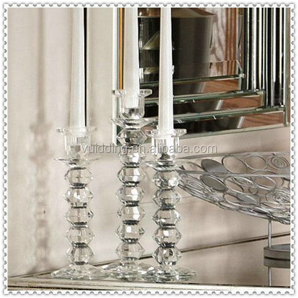 Bead Design Crystal Pillar Candle Holders For Party Centerpieces