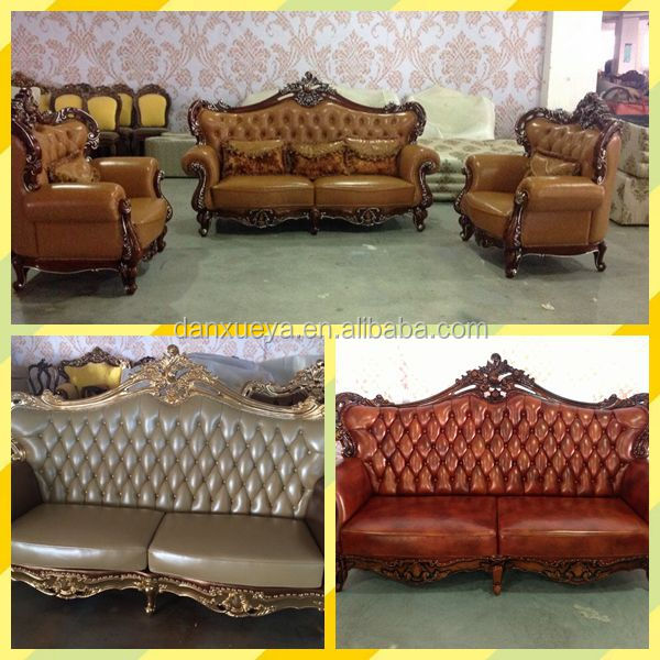 High quality luxury king style royal baroque leather sofa