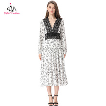 Wholesale Mexican Lace Embroidered Dresses White Black Elegant Floral Print Low V Neck Pleated Long Self Portrait Dress