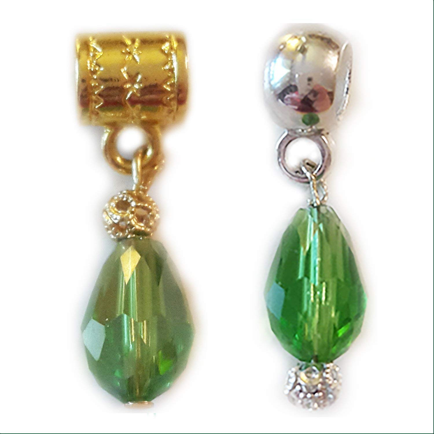 """""""Green Crystal glass"""" charm. Gold-Plated or Silver-Plated Hanging charm by Mossy Cabin for large hole snake chain charm bracelets, Neck Chain or key chain in Christmas green or as August birthstone"""